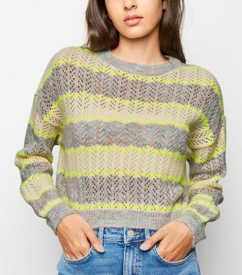 Grey Neon Stripe Pointelle Jumper