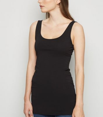 Black Scoop Neck Longline Vest Top