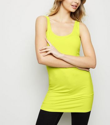 Yellow Scoop Neck Longline Vest Top