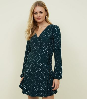 Green Spot Print Soft Touch Wrap Dress
