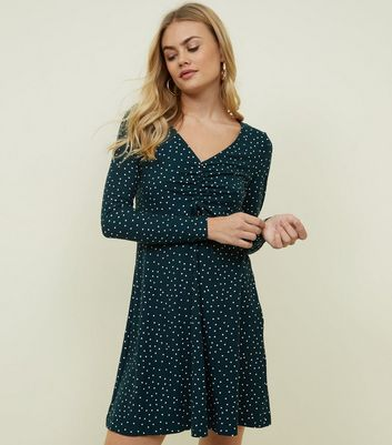 Green Spot Print Ruched Soft Touch Dress