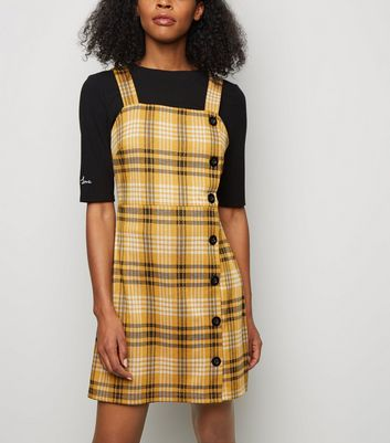 Mustard Check Button Side Pinafore Dress