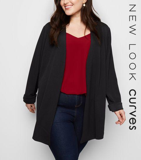 bb2feed5470 ... Mela Curves Black Zip Pocket Blazer ...