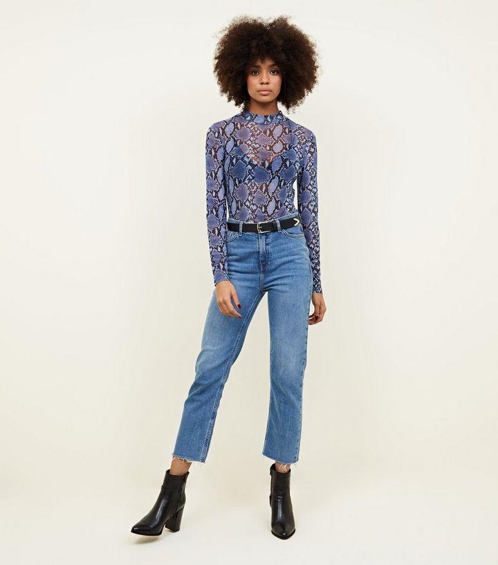 f3363d2525 Blue Snake Print Mesh Long Sleeve Bodysuit