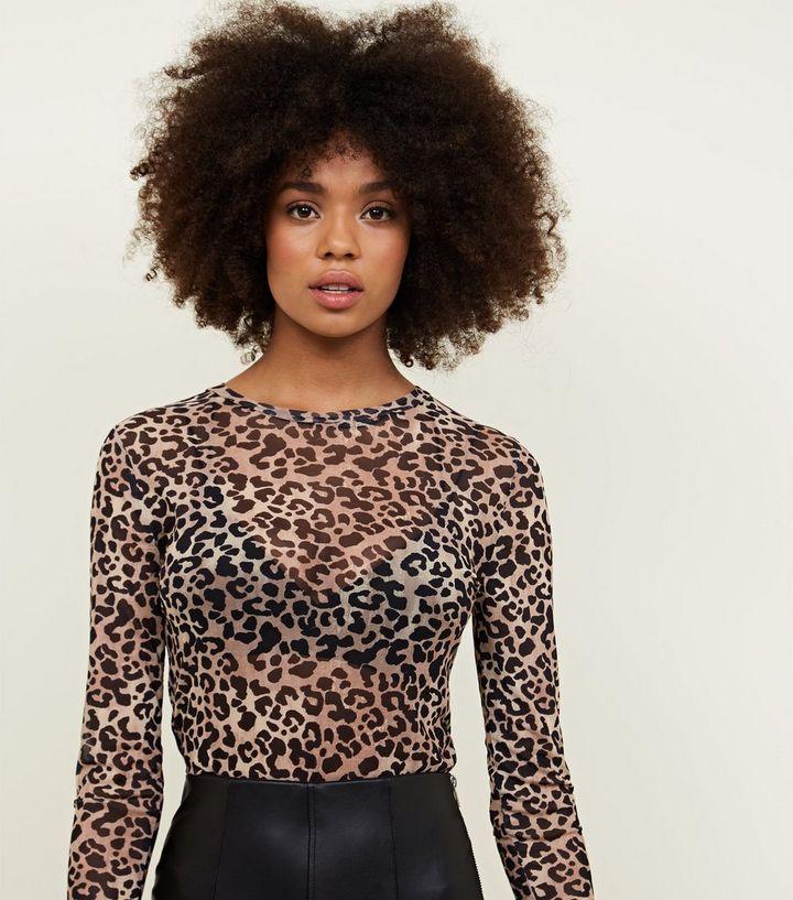 868715f8d645 Brown Leopard Long Sleeve Print Mesh Top | New Look
