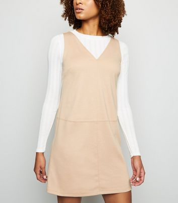 Camel V Neck Jersey Pinafore Dress