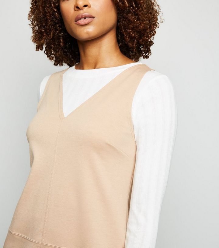 38ad77eadfd4 ... Camel V Neck Jersey Pinafore Dress. ×. ×. ×. Shop the look