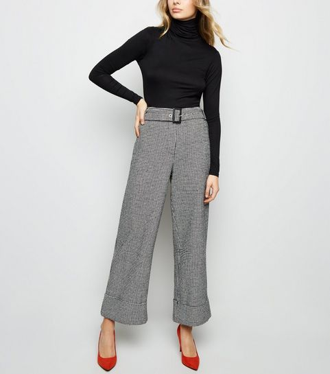 b1e65c93f65fa ... Black Houndstooth Belted Turn Up Wide Leg Trousers ...