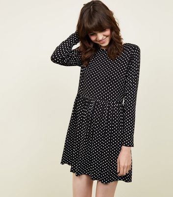 Black Spot Print Long Sleeve Smock Dress
