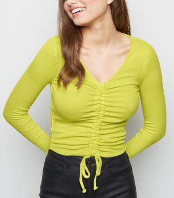 Green Neon Ruched Long Sleeve Crop Top