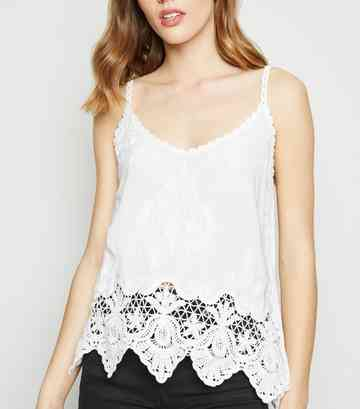 White Crochet Cami