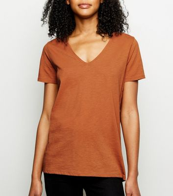 Tan Organic Cotton V Neck T-Shirt