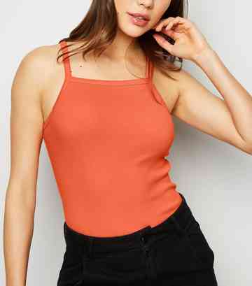 Coral Ribbed High Neck Cami