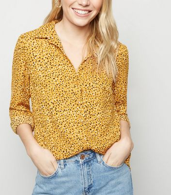 Petite Yellow Abstract Spot Print Shirt