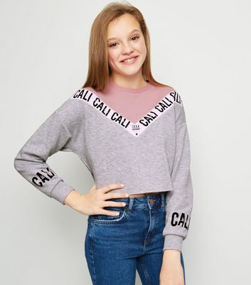 Girls Pink and Grey Tape Slogan Sweatshirt
