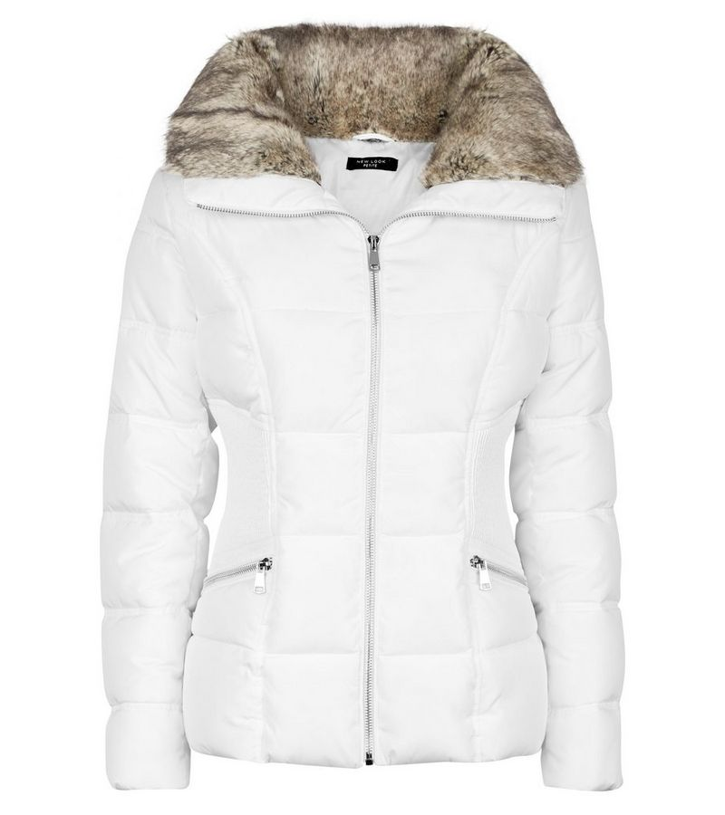 New Look - petite  faux fur trim fitted puffer jacket - 2