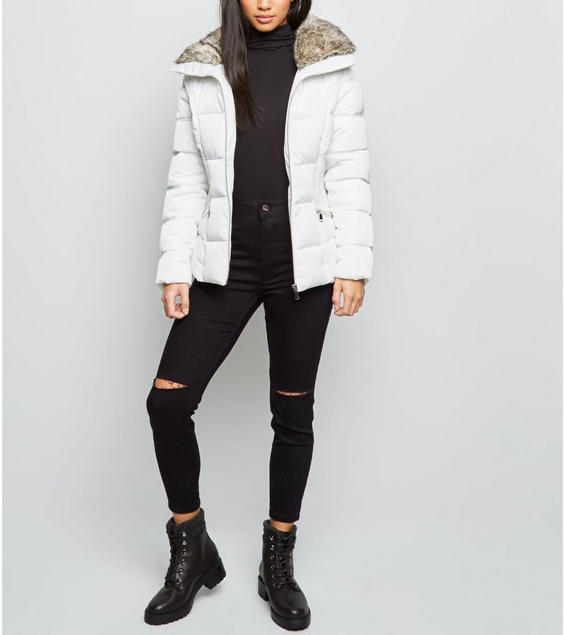 New Look - petite  faux fur trim fitted puffer jacket - 3