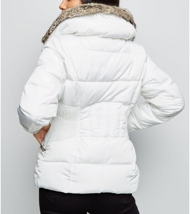 New Look - petite  faux fur trim fitted puffer jacket - 5