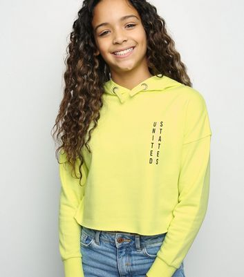 Girls Yellow Neon US Slogan Hoodie