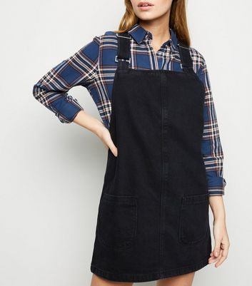 Petite Black Buckle Denim Pinafore Dress