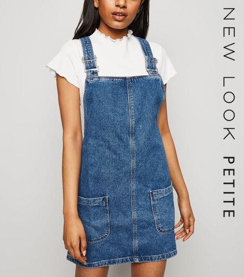 a11cef8b1651 ... Petite Blue Buckle Denim Pinafore Dress ...