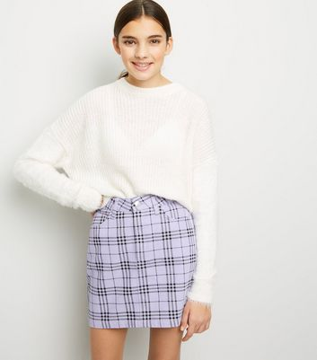 Girls Lilac Check Denim Skirt