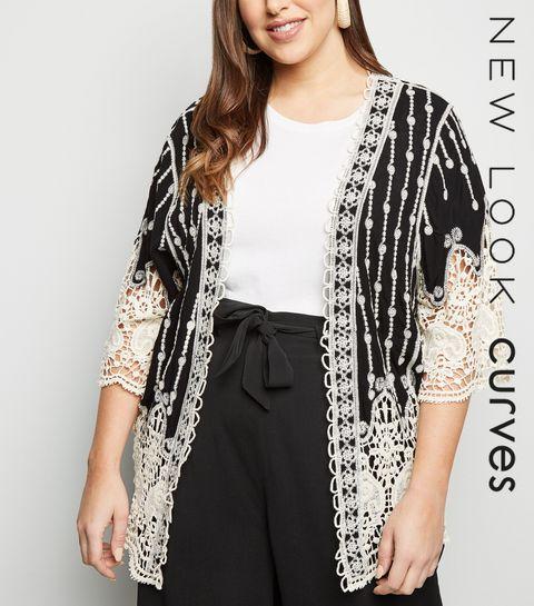 571664f4d85e ... Curves Black Floral Crochet Kimono ...