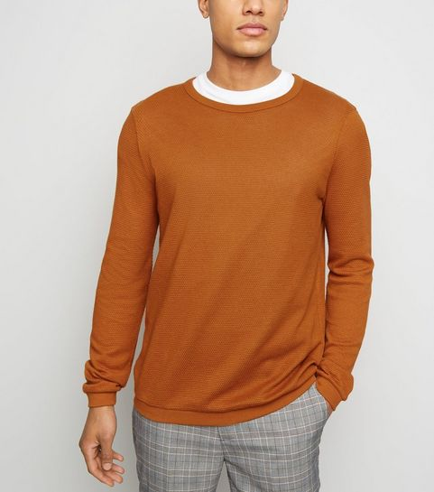 d0930979 ... Rust Crew Neck Textured Knit Jumper ...