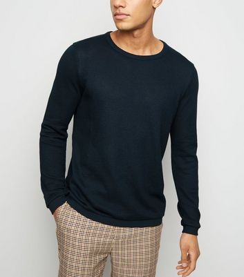 Navy Crew Neck Textured Knit Jumper