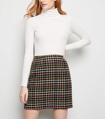 Black Rainbow Check Brushed Mini Skirt