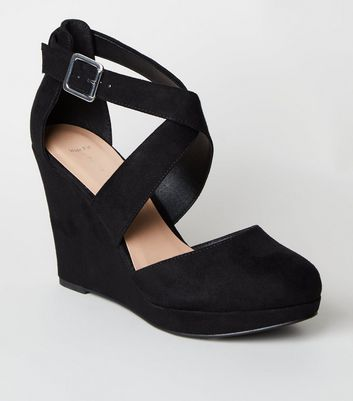 Wide Fit Black Suedette Wedge Heels