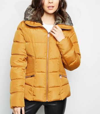Tall Mustard Belted Puffer Jacket