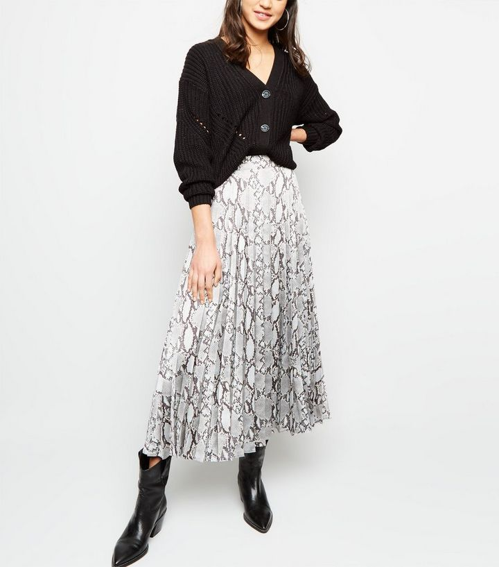 b338f669e9 Light Grey Satin Snake Print Pleated Midi Skirt Add to Saved Items Remove  from Saved Items