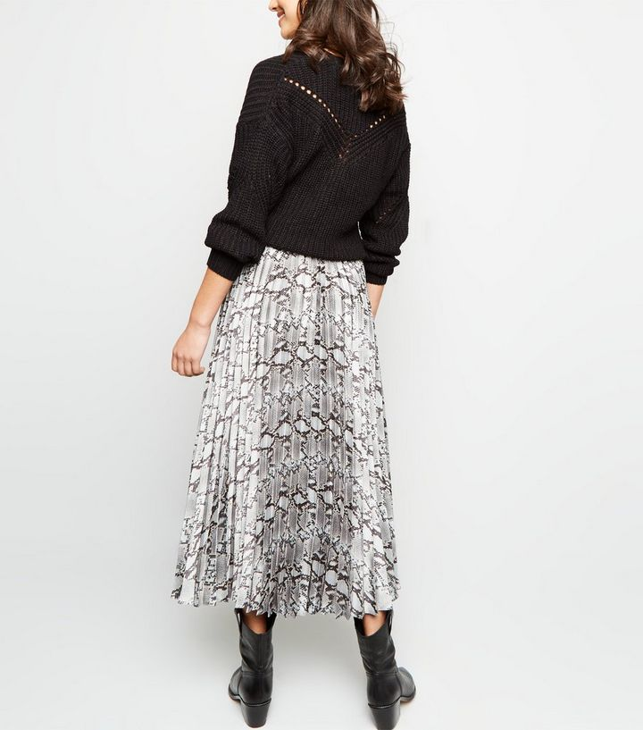 new style of 2019 price reduced comfortable feel Light Grey Satin Snake Print Pleated Midi Skirt Add to Saved Items Remove  from Saved Items