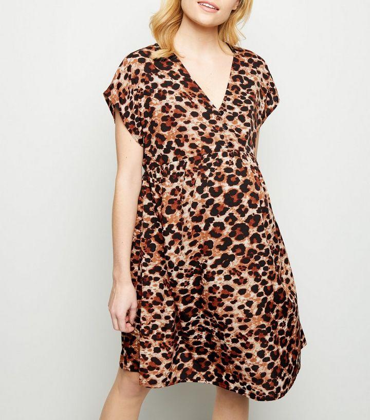 82250a52f3cf Maternity Brown Leopard Print Smock Dress | New Look