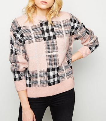 Pink Brushed Check Jumper