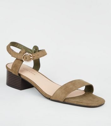 Khaki Suedette Low Block Heel Sandals