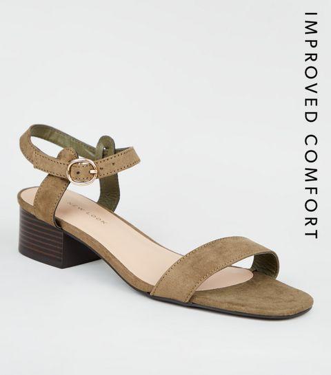 544dd36f4ab ... Khaki Suedette Low Block Heel Sandals ...