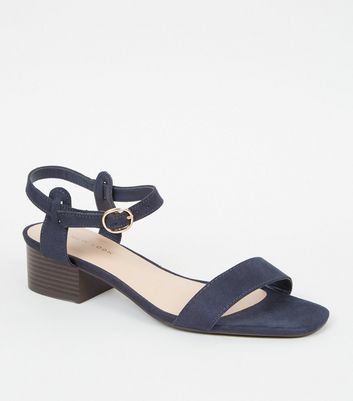Navy Suedette Low Block Heel Sandals