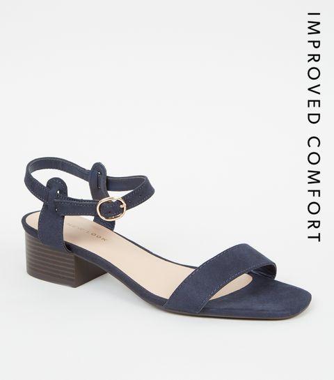 68f45786aa74 ... Navy Suedette Low Block Heel Sandals ...