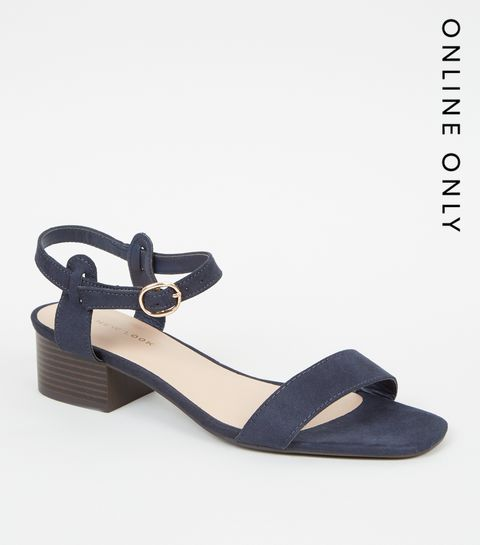 e607826f0990 ... Navy Suedette Low Block Heel Sandals ...