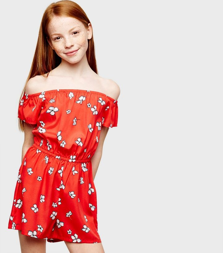 Girls Red Floral Bardot Playsuit