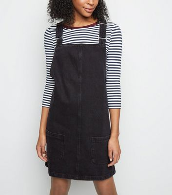 Tall Black Denim Mini Pinafore Dress