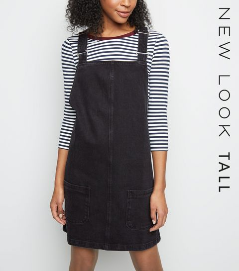 62e29d95db ... Tall Black Denim Mini Pinafore Dress ...