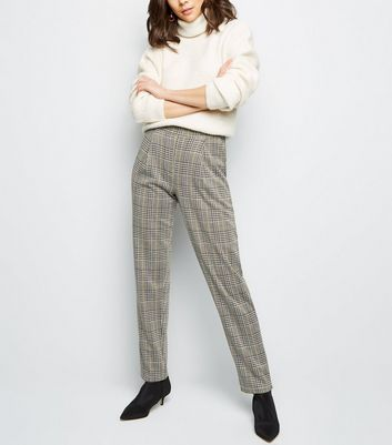 Tall Light Grey Check Pull On Trousers