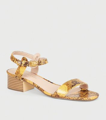 Mustard Faux Snake 2 Part Sandals