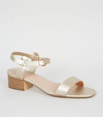Gold 2 Part Low Block Heel Sandals