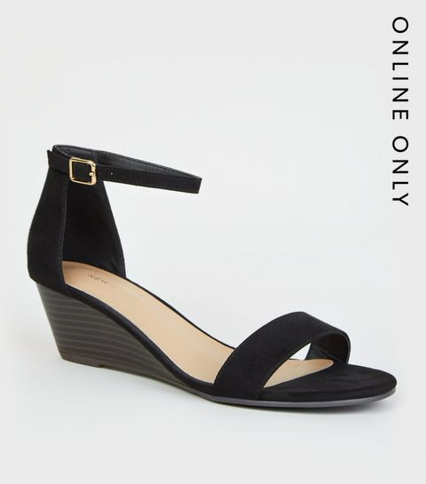 d5bfc4f03 ... Black Suedette Low Wedge Sandals ...
