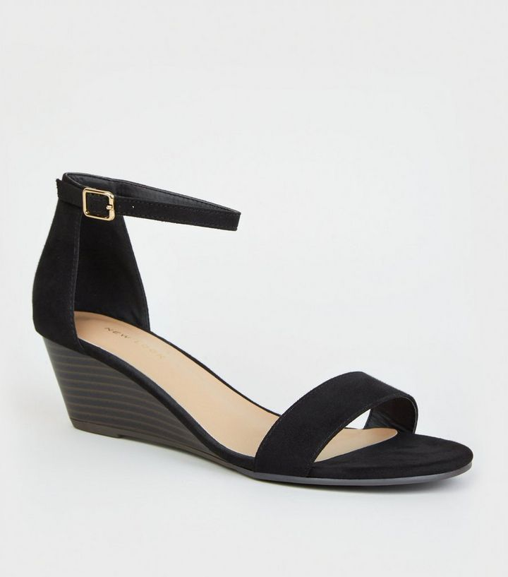 f7db539ac4b47 Black Suedette 2 Part Wedge Sandals | New Look
