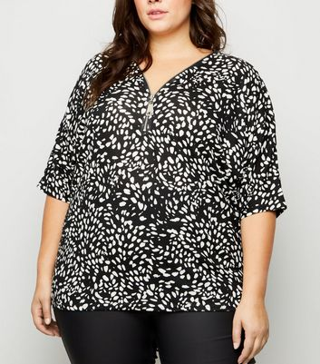 Curves Black Abstract Spot Zip Front Top